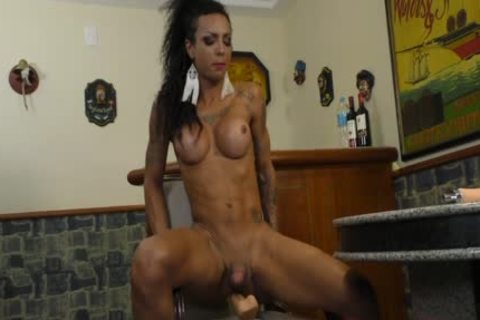 ebon t-girl Isa Potter Rides A dildo And gets help From A banging Machine