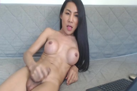 darksome ebon Using anal toys On t-girl shemale